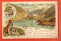 ZAO-11 Litho Souvenir Du Grand Saint-Bernard Chiens Chanoine . Dos Simple.Circulé 1900 Avec Timbre Jubilé UPI - VS Valais