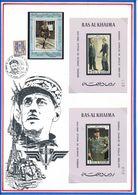 RAS AL KHAIMA/AJMAN - 2 BLOCS NON DENTELES NEUFS + 1 TIMBRE OBLITERE GENERAL DE GAULLE - De Gaulle (General)