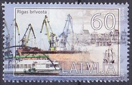 Timbre Oblitéré N° 789(Yvert) Lettonie 2011 - Marine, Port De Riga - Lettland