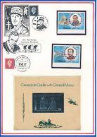 OMAN/NAGALAND - 2 TIMBRES NON DENTELES NEUFS + BLOC NON DENTELE EN ARGENT GENERAL DE GAULLE - De Gaulle (General)