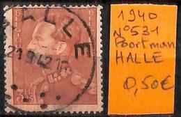 [831653]TB//O/Used-Belgique 1940 - N° 531, HALLE, Familles Royales, Rois - 1936-1951 Poortman