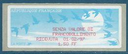 LISA (ATM) - Vignette De Reçu En Italien - 2ème Version: FF Pour L'abréviation De Franc - 1990 «Oiseaux De Jubert»