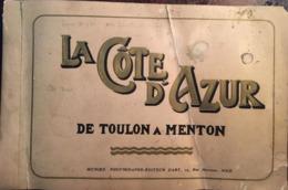 Plan Et Ancien Carnet 24 Photos, La Côte D'Azur De Toulon à Menton + Plan De Nice, 06, Publication Galeries Lafayettes - Reiseprospekte