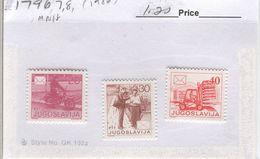 YUGOSLAVIA 1986 Postal Communications; Mint Never Hinged; Scott Cat. No(s). 1796-1798 - 1945-1992 Socialist Federal Republic Of Yugoslavia