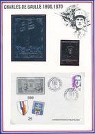 RAS AL KHAIMA/FUJEIRA/FRANCE - TIMBRE EN OR + TIMBRE EN ARGENT + ENVELOPPE GENERAL DE GAULLE - De Gaulle (General)
