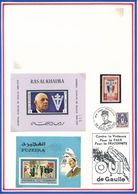 FUJEIRA/RAS AL KHAIMA - 1 TIMBRE + 2 BLOCS NON DENTELES NEUFS GENERAL DE GAULLE - De Gaulle (General)