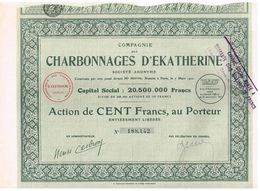 Titre Ancien - Compagnie Des Charbonnages D' Ekatherine - Société Anonyme - Titre De 1927 - - Russie