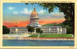 West Virginia Charleston State Capitol Building And Kanawha River 1945 Curteich - Charleston
