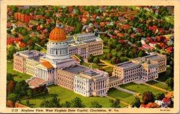 West Virginia Charleston Airplane View State Capitol Building 1946 Curteich - Charleston