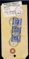Ireland Galway PARCEL POST 1932 Parcel Tag LETTERFRACK 27 JU 32 POST NA MBEART To Malahide With Three 3d Eucharistic - Irlande