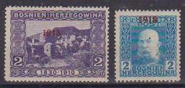 BOSNIA EZERGOVINA POSTA MILITARE 1918 SOPRASTAMPATI IN ROSSO UNIF. 141-142 MLH VF - Bosnia Herzegovina
