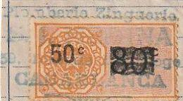 Maroc. Protectorat Français. Timbre De Quittance. Fiscal. 50 C. Sur Fragment De Document Cachet Casablanca. Surcharge - France (former Colonies & Protectorates)