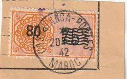 Maroc. Protectorat Français. Timbre Quittance. Fiscal. 80 C. Sur Fragment Document Cachet Postal. Casablanca. Surcharge - Sonstige