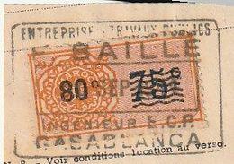 Maroc. Protectorat Français. Timbre De Quittance. Fiscal. 80 C. Sur Fragment De Document Commercial. Cachet De Société. - Sonstige