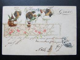AK HUND Dog Alcohol Alkohol Litho Bulldogge 1899 //  D*44405 - Chiens