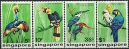 SINGAPORE 1975 Birds Parrots Kingfishers Animals Fauna MNH - Perroquets & Tropicaux