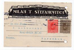 1927 KINGDOM OF SHS,SERBIA,BELGRADE TO WARSAW,POLAND,MILAN STEFANOVIC,CORRESPONDENCE CARD,USED - Yugoslavia