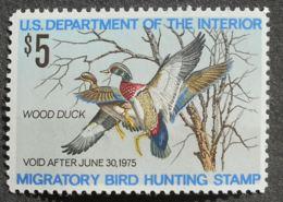 USA 1974 Hunting Permit Stamps, 5$, SC #RW41, MNH, CV=18$ - United States