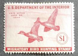 USA 1943 Hunting Permit Stamps, 1$, SC #RW10, MH, CV=48$ - United States