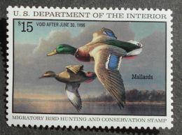 USA 1995 Hunting Permit Stamps, 15$, SC #RW62, MNH, CV=28$ - United States