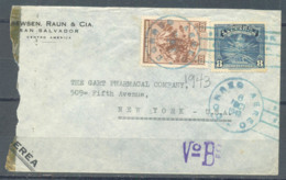 El Salvador 1943 Cover, Sent To USA, 2 Stamps, Used - El Salvador