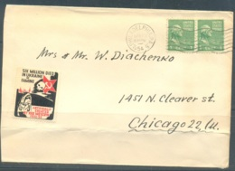 USA 1954 Cover, Ukraine Exile Post, 2 Stamps + 1 Private Stamp, Used - United States