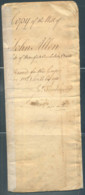 USA Copy Of The Will Of John Allen, Embossed 1p Revenue Stamps - United States