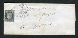 Rare Lettre De Bône ( Algérie 1850 ) Pour Marseille Avec Un N° 4 - 1849-1876: Klassik
