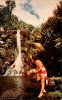 Hawaii Native Hawaiian Maiden By Waterfall - Big Island Of Hawaii