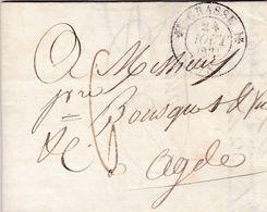 LAC De Grasse (06) Pour Agde (34) - 23 Août 1831 - CAD Rond Type 12 & Dateur A - Taxe Manuelle 6 - 1801-1848: Precursori XIX