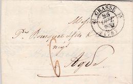 LAC De Grasse (06) Pour Agde (34) - 25 Octobre 1832 - CAD Rond Type 11 & 12 - Taxe Manuelle 6 - 1801-1848: Precursori XIX