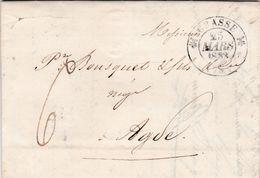 LAC De Grasse (06) Pour Agde (34) - 25 Mars 1833 - CAD Rond Type 11 & 12 - Taxe Manuelle 6 - 1801-1848: Precursori XIX