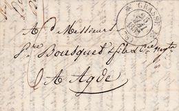 LAC De Grasse (06) Pour Agde (34) - 25 Mai 1833 - CAD Rond Type 11 & 12 - Taxe Manuelle 6 - 1801-1848: Vorläufer XIX