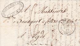 LAC De Grasse (06) Pour Agde (34) - 30 Mai 1838 - CAD Rond Type 11 & 14 - Taxe Manuelle 6 - 1801-1848: Precursori XIX