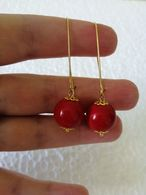 New Handmade Bijouterie Gold Tone Earrings With Natural Red Coral Round Beads - Earrings