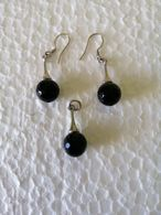 Handmade Bijouterie Silver Tone Earrings And A Pendant With Natural Onix Faceted Beads - Earrings