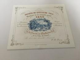 P4 - Société De Guillaume TELL - Souhait De La Nouvelle Année 1845 - Ville De Gand - Tir à L'Arc