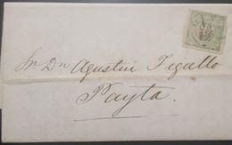O) 1873 PERU, COAT OF ARMS 1d Green, TO PAYTA PORT - PAITA, XF - Perú
