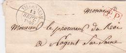 PSC De Villenauxe (10) Pour Nogent-sur-Seine (10) - 13 Septembre 1846 - CAD Rond Type 13 & 14 - Cachet P.P. Rouge - Marcophilie (Lettres)