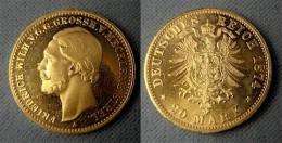 20 Mark Gold 1874 Mecklenburg-Strelitz Großherzog Friedrich Wilhelm, Wohl NP - [ 2] 1871-1918 : Imperio Alemán