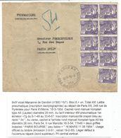 GANDON 5FR VIOLET BLOC DE 8+1 PNEUMATIQUE PARIS XX 16.3.1951 AU TARIF - 1945-54 Marianne De Gandon