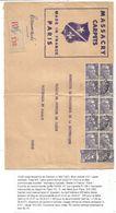 GANDON 5FR VIOLET BLOC DE 10+ PAIRE  GRANDE LETTRE REC  PARIS 9.6.1952 AU TARIF 2EME - 1945-54 Marianne De Gandon