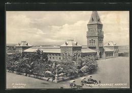 AK Karachi, Empress Market, Markthalle - Postkaarten
