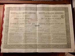 Sté  De  PLACERS  AURIFÈRES  Et  De  TRAVAUX  PUBLICS  De La  HAUTE  ITALIE ----- Certificat  D' Une  Part - Industrie