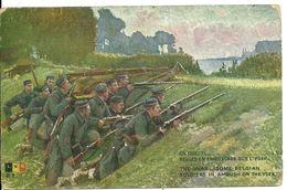 EN GUERRE 14 18   BELGES EN EMBUSCADE SUR L'YSER    THE WAR SOME BELGIAN SOLDIERS IN AMBUSH ON THE YSER - Guerra 1914-18