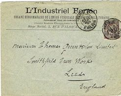 ENVELOPPE  A EN-TETE L'INDUSTRIEL FORAIN ADRESSEE A LEEDS ANGLETERRE - Marcophilie (Lettres)