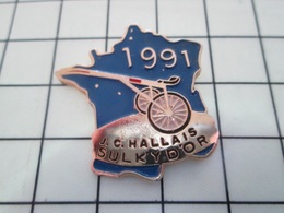 1214e Pin's Pins / Beau Et Rare / THEME : SPORTS / HIPPISME JC HALLAIS SULKY D'OR 1991 CARTE DE FRANCE HEXAGONE - Pin