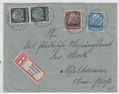 Deutsche Besetzung Elsass R-Brief Mit MIF Aus Beinheim Mit AKs - Occupation 1938-45