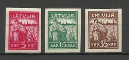LETTLAND Latvia 1919 Michel 25 - 27 (*) Mint No Gum/ohne Gummi - Lettland