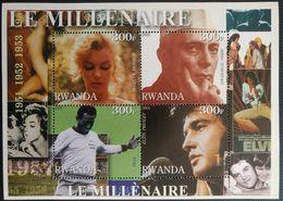 143. RWANDA 2001 IMPERF STAMP S/S NEHRU, ELVIS PRESLEY, PELE, MARLYN MONROE .MNH - Rwanda